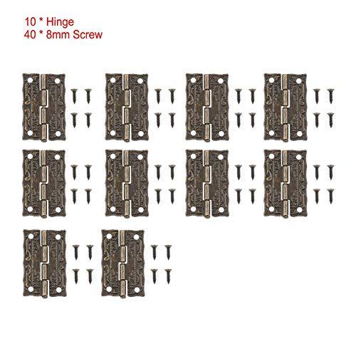 Preisvergleich Produktbild LetCart Antike Scharnier-10pcs Zinklegierung Bronze Möbel Antike Scharniere Schranktür Schublade Holzkiste Verbindungswerkzeug