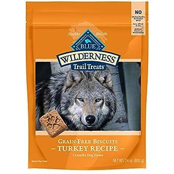 Blue Buffalo Wilderness Trail Treats High Protein Grain Free Crunchy Dog Treats Biscuits Turkey Recipe 24-oz Bag