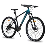 Hiland 29 Inch Mountain Bike for Men Adult Bicycle Aluminum Hydraulic Disc-Brake 16-Speed 17 Inch with Lock-Out Suspension Fork Urban Commuter City Bicycle Black Blue