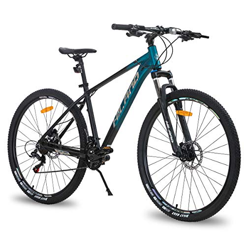 Hiland 29 Inch Mountain Bike for Men Adult Bicycle Aluminum Hydraulic Disc-Brake 16-Speed 18 Inch with Lock-Out Suspension Fork Urban Commuter City Bicycle Black Blue