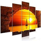 murando Cuadro en Lienzo Mar 200x100 cm 5 Partes Impresión en Material Tejido no Tejido Impresión Artística Imagen Gráfica Decoracion de Pared Vista de la Ventana Puesta del Sol Paisaje c-B-0555-b-m