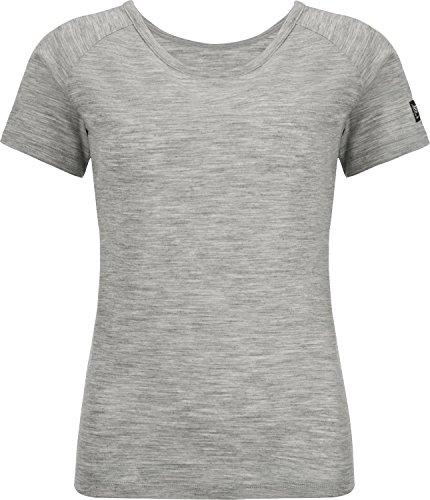super. Natural W Essential Scoop Neck Femme en Laine mérinos col Rond T-Shirt L Ash Melange