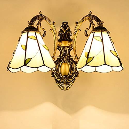 Unbekannt FEI Pastorale Wandleuchte Jane europäischen Wohnzimmer Lampe Schlafzimmer Nachttischlampe kreative mediterrane Beleuchtung,Bronze-Doppelkopf