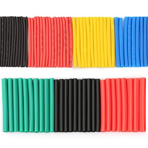 850 Stück Schrumpfschläuche - Satisby Schrumpfschlauch Set Elektrische Isolierung Schutz Kit Heat Shrink Wrap Kabelmanschette 5 Farben 7 Größen Schrumpfverhältnis 2:1