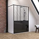 Pack de mampara de ducha de 90 x 200 cm, color negro mate + plato de mesa compuesto SMC 90 x 140 cm