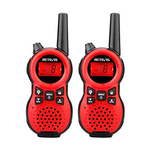 Retevis RT38 Walkie Talkie for Kids 22 Channels Toy and Gifts 2 Way Radio with Backlit LCD Flashlight for Boys and Girls to Outside, Camping, Hiking(Red, 2 Pack)