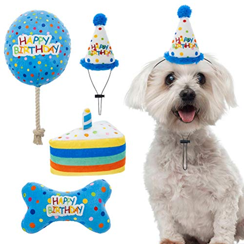 Dog Birthday Hat with Cake and Plush Squeaky Toys, Dog Birthday Party Supplies, Party Decorations for Boys, Puppy Chew Toys Gift for Dogs