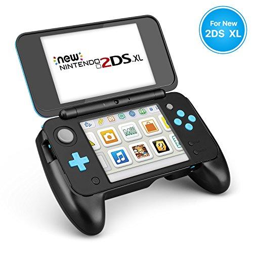 TNP New Nintendo 2DS XL-Handgriff - Schutzhüllenhaut Gummi-Controller-Griffhülle Ergonomischer Komfort Anti-Rutsch-Griff Konsolengriff mit Kick-Ständer für das neue Modell Nintendo 2DS XL LL 2017