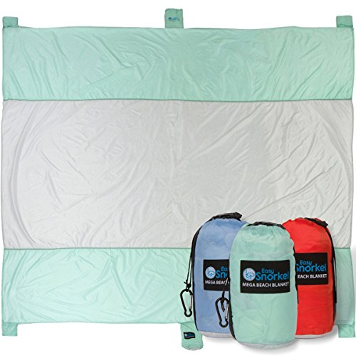 Mega Sand Proof Beach Blanket - XXL Oversized Blanket | 80% Larger than other Travel / Picnic Blankets. Huge 10 x 9.5 Family Size fits 7+ Adults. Perfect for Hiking, Camping and Festivals
