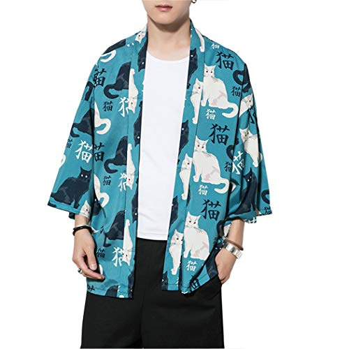Hombre Chaqueta de Kimono de Verano Casual 3/4 Manga De Impresión Suelta Chaqueta Haori Ocasional Outwear Cardigan Capa Delantera Abierta Juventud,Gato,XS