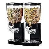 Double Cereal Dispenser Dry Food White /Black Plastic Canister Fresh & Easy (Black)