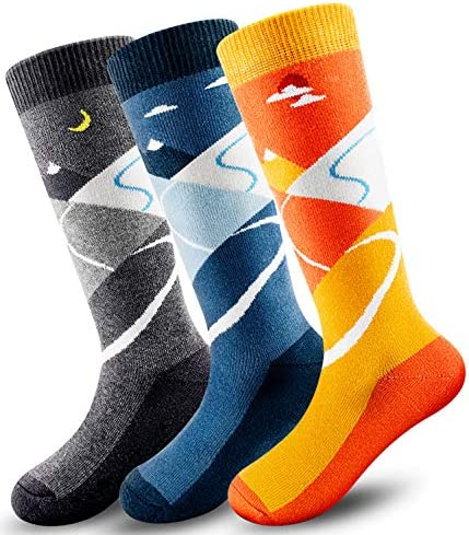 3 Pack Kids Ski Socks Over The Calf OTC Lightweight Warm Soft Non Slip Cuff Skiing Socks Youth product image