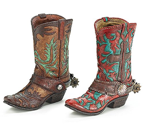 Brown or Turquoise Western Cowboy Boot Vase for a Western Theme (Brown Boot with Turquoise Design)