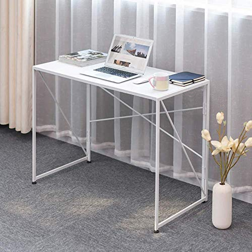 Tavolo da tavolo da computer pieghevole, scrivania da casa portatile, scrivania, moderno robusto scrivania, tavolo da ufficio workstation facile montaggio bianco (39.4x19.7x29.9inch) (Color : B)