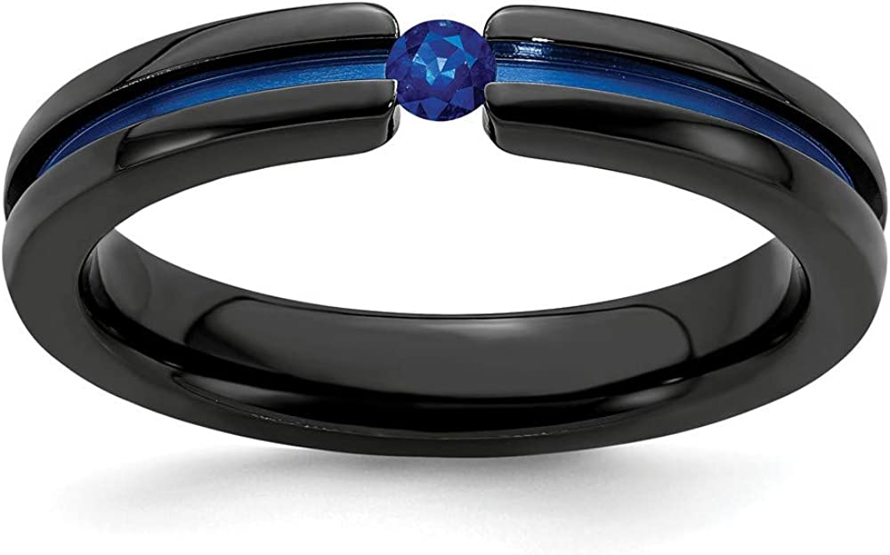 ICE CARATS Edward Mirell Black Titanium Sapphire Blue Anodized 4mm Wedding Ring Band Stone Gemstone Fashion Jewelry for Women Gifts for Her