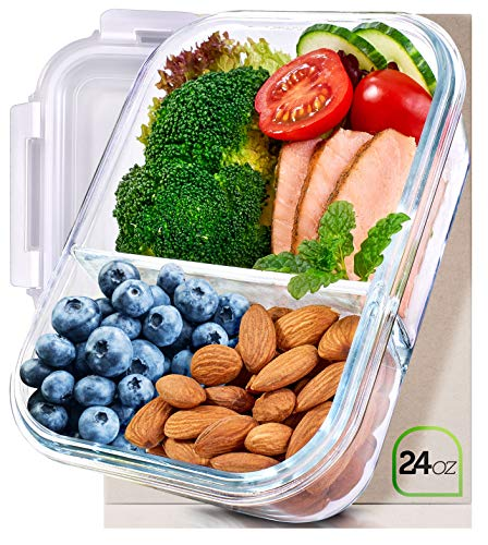 Prep Naturals Glass Meal Prep Containers Glass 2 Compartment - Glass Food Storage Containers Glass Storage Containers with Lids - Divided Glass Lunch Containers Food Container 24 Ounce