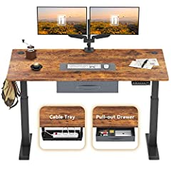 """DIGITAL DISPLAY HANDSET: 4 memory preset options for easy adjustment. ELECTRIC LIFT SYSTEM: Fully motorized lift from 27 to 46 Inches height. HEAVY-DUTY STEEL LEG: Supports up to 176 lb. ELEGANT WORKSPACE: The large work surface measuring 48"""" x 24"""" t..."""