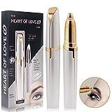 Depiladora Para Mujeres,Removedor de cabello eléctrico,Cejas Depilación Trimmer de Epiladora con LED Mini Afeitadora para Labios,Barbilla,Cuello (Oro)