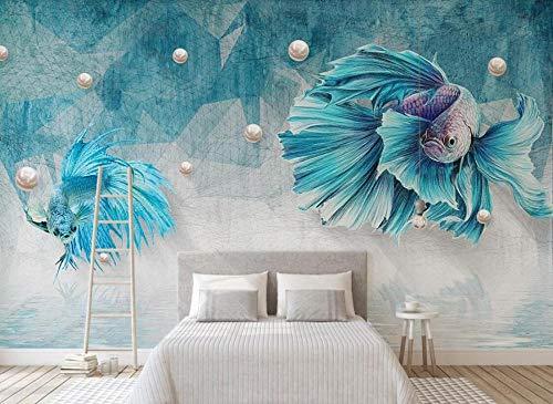 LI Wallpaper Papel Pintado Pared 3D Línea Abstracta Azul Profundo Joyería De Pescado Moderno Decoracion Hogar Dormitorio Cuadros Decoracion Salon 150cmX95cm