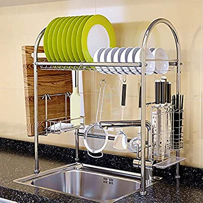TOPINCN Single-Layer Dish Drying Rack Over Sink Kitchen Supplies Storage Shelf Countertop Space Saver Display Stand Tableware Drainer Organizer, Sink Size ? 28.3 inch from Teatal