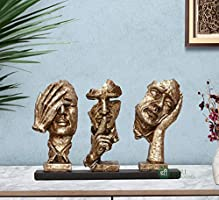 Porcelain Three Modern Human Faces Statue, 8 Inches, Silver