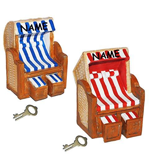 alles-meine.de GmbH Strandkorb für Reisekasse & Urlaubsgeld  - XL Spardose - incl. Name - Sparschwein lustig witzig / stabile Sparbüchse aus Kunstharz mit Schlüssel - Strandba..