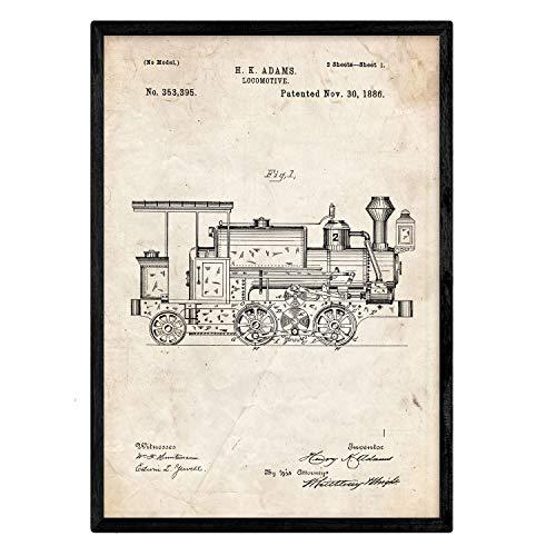 Nacnic Poster con Patente de Locomotora 2. Lámina con diseño de Patente Antigua en tamaño A3 y con Fondo Vintage