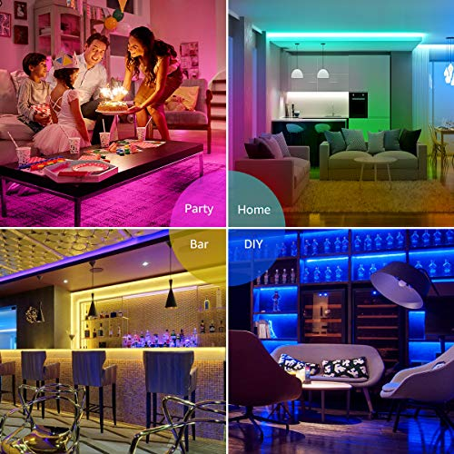 Lepro 50ft LED Strip Lights, Ultra-Long RGB 5050 LED Strips with Remote Controller and Fixing Clips, Color Changing Tape Light with 12V ETL Listed Adapter for Bedroom, Room, Kitchen, Bar(2 X 24.6FT) 4