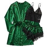 yxbnalDamen Spitze Pyjama Set Sexy Spitzen Schlafanzug Nachtwäsche Unterwäsche Babydoll Kleid Anzug Satin Kimono Nachthemd Sling Lingerie Morgenmantel Robe Hausanzug Dessous Wäsche Set