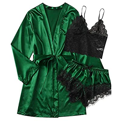 Amazon - Save 80%: Women's Sleepwear, Lace Satin 3 Piece Robe and Pajama Set with Robe Cami…