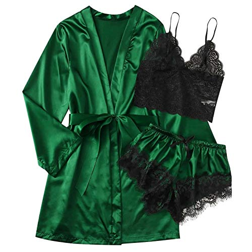 VESNIBA 3 piezas de lencería para mujer, de seda, pijamas, conjunto de pijamas, kimono, bata de satén, bata de seda, escote en V con encaje de flores verde M