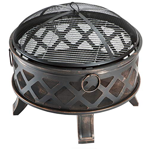 Oren 26' Deep Round Fire Pit with chrome pleated grill and mesh protective screen