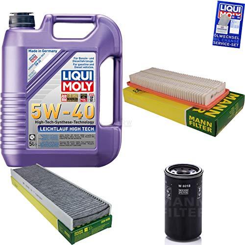 Preisvergleich Produktbild Filter Set Inspektionspaket 5 Liter Liqui Moly Motoröl Leichtlauf High Tech 5W-40 MANN-FILTER Innenraumfilter Luftfilter Ölfilter