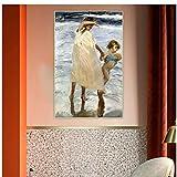 Joaquin Sorolla 《Two Sisters, Valencia》 Canvas Art Pintura al óleo Póster de arte Cuadro decorativo Decoración de pared Decoración del hogar -60x80cm Sin marco
