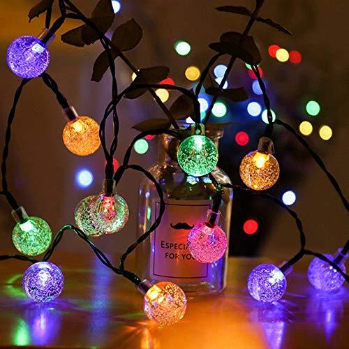 Guirnaldas Luces Exterior Solar,  8M 40 LED Cadena de Luces Solar Bola de Cristal,  IP65 8 Modos Guirnalda Solar LED Bola de Cristal Luces Decoracion para Hogar, Jardín, Terraza, Festival(Vistoso)
