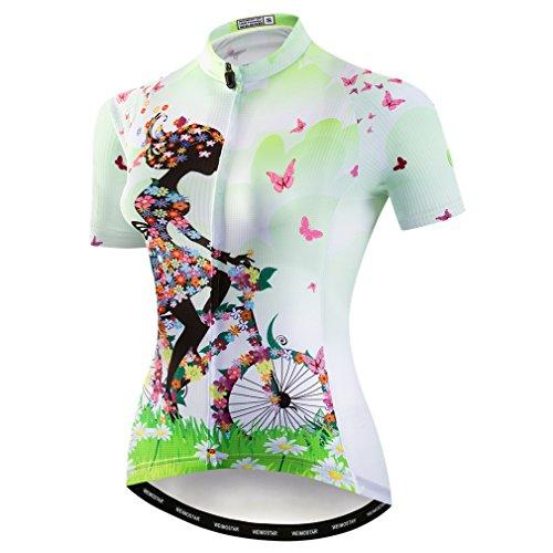 Weimostar Mountainbike-Jersey-Shirts der Radfahren Jersey-Frauen Kurze Hülse Straße Fahrrad-Kleidung Pro-Team MTB übersteigt Sommer-Kleidung Fahrrad grün Größe XL