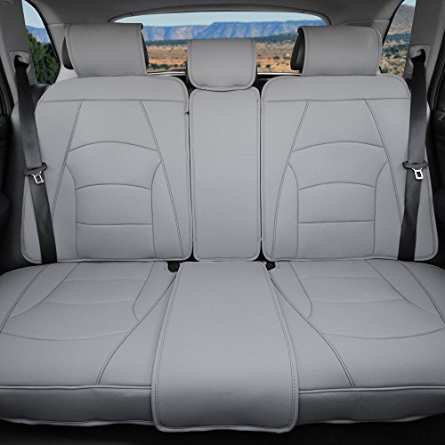 FH Group PU205013 Ultra Comfort Highest Grade Faux Leather Seat Cushions (Gray) Rear Set – Universal Fit for Cars Trucks & SUVs