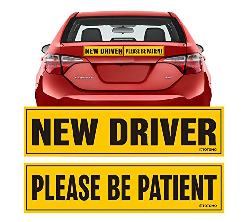 TOTOMO New Driver Please be Patient Magnet Sticker - 12x3 Highly Reflective Premium Quality Car Safety Caution Sign for New and Student Drivers #SDM09
