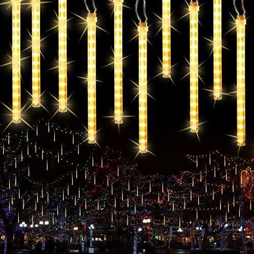 BrizLabs Meteorschauer Regen Lichter, 240 LED Außen Lichterregen Lichterkette 10 Tubes 30cm Weihnachtsbeleuchtung Wasserdichte für Xmas Garten Hochzeit Party Baum Balkon Innen Dekoration, Warmweiß