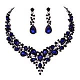 Molie Youfir Bridal Austrian Crystal Necklace and Earrings Jewelry Set Gifts fit with Wedding Dress(Navy Blue)