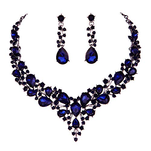 Youfir Bridal Austrian Crystal Necklace and Earrings Jewelry Set Gifts fit with Wedding Dress(Navy Blue))