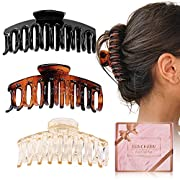 #LightningDeal Hair Claw Clips for Thick Hair - 3pcs 4.3'' Plastic Nonslip Jumbo Hair Clips Strong Hold Hair Jaw Clips Big Hair Clips French Design Hair Styling Accessories for Women Girls(3 Packs)