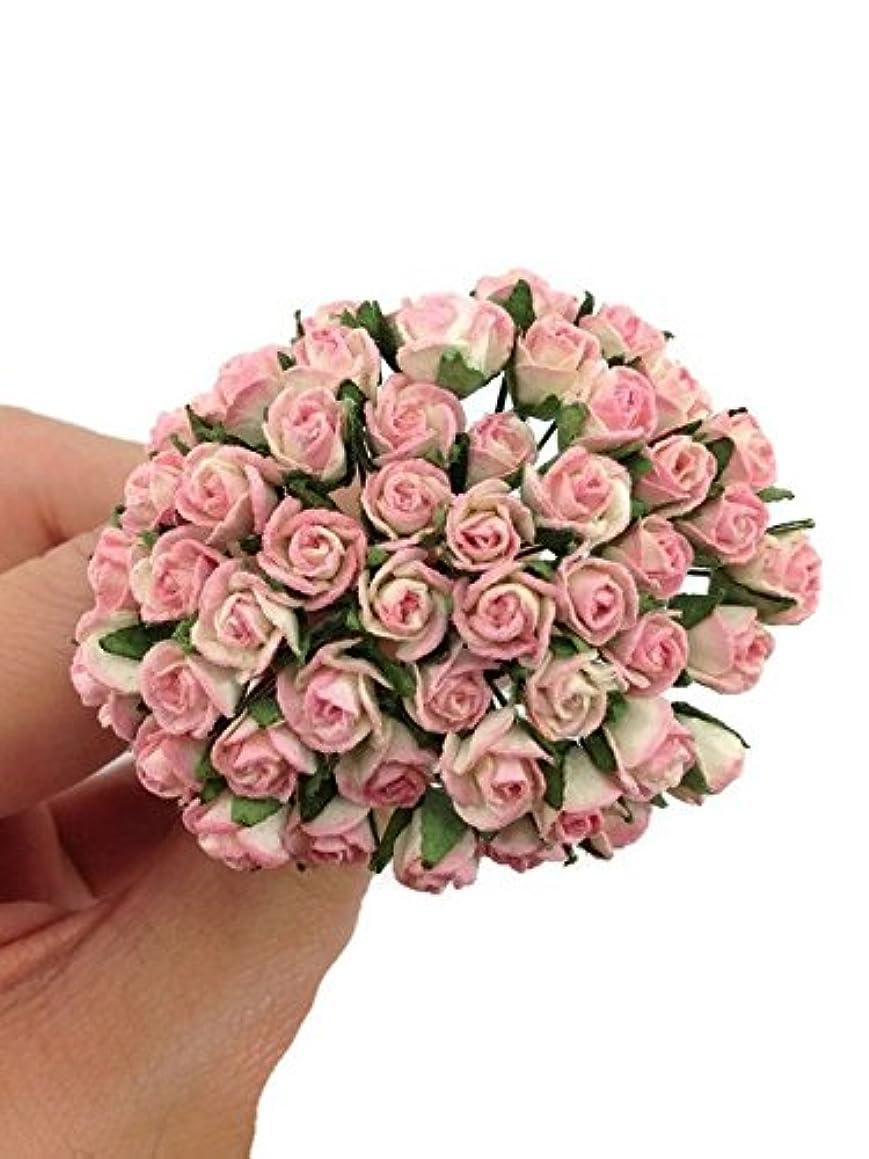 50pc Bright Pink Artificial Flowers Paper Rose Flower Wedding Card Embellishment Scrapbook Craft -F002