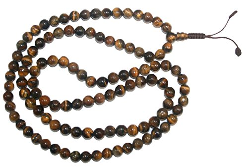 Agan Traders Original Tibetan Buddhist 108 Beads Prayer Meditation Mala Necklace (Tiger's Eye)