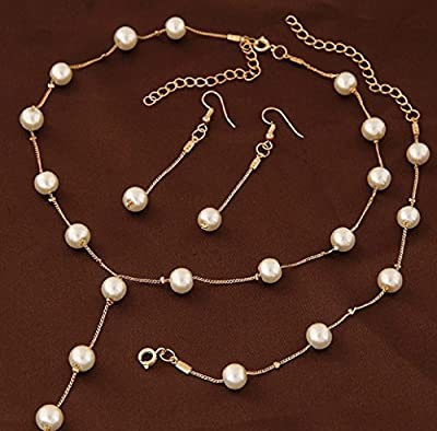 Faux Pearl Necklace Earring Bracelet Jewelry Set, Delicate and Classy Costume jewelry Favors