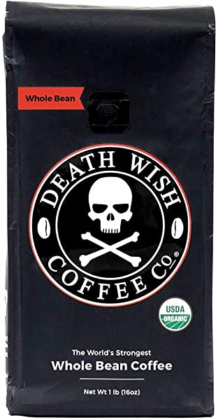 Death Wish Organic USDA Certified Whole Bean Coffee 16 Ounce Bag