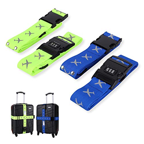 FORMIZON Correas de Equipaje, 4 Pack Equipaje Maleta Ajustables de Equipaje de Viaje Cinturones con Ranura para Etiquetas de Identificación Accessorios de Viaje (Azul, Verde con Bloqueo Contraseña)