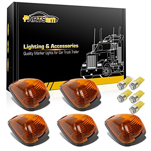 Partsam 5X Amber Cab Marker Roof Lights 264143AM+ 5X Amber T10 LED Lights Assembly Compatible with Ford E150 E250 E350 E450 F150 F250 F350 F450 F550 Super Duty with Stock Cab Light 1999-2016