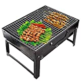 Sajani Folding Portable Outdoor Barbeque Charcoal BBQ Grill Oven Black Carbon Steel, Black