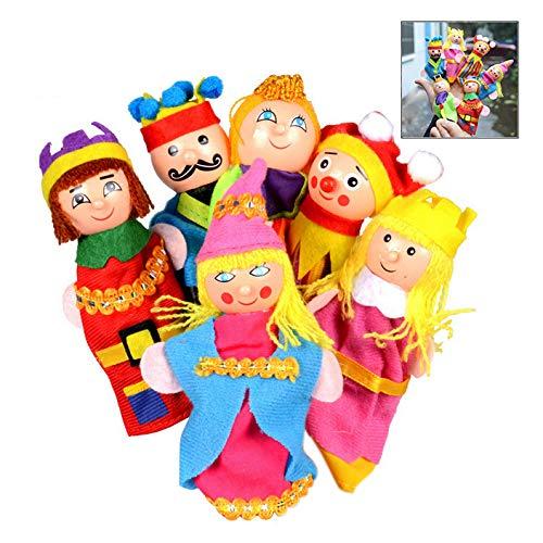 XLKJ 6pcs Marioneta Teatro De Dibujos Animados Juego De Roles Títeres De Dedo Teatro de Madera muñeca Suave niños Juguetes educativos